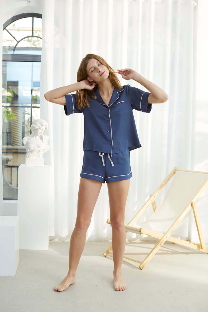 Fine Grid Jacquard Silk Shirt and Shorts Set