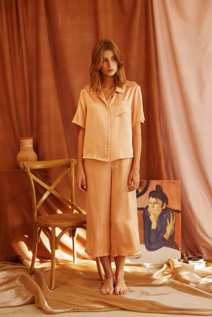 Love Song Embroidered Silk-Satin Pajama Set