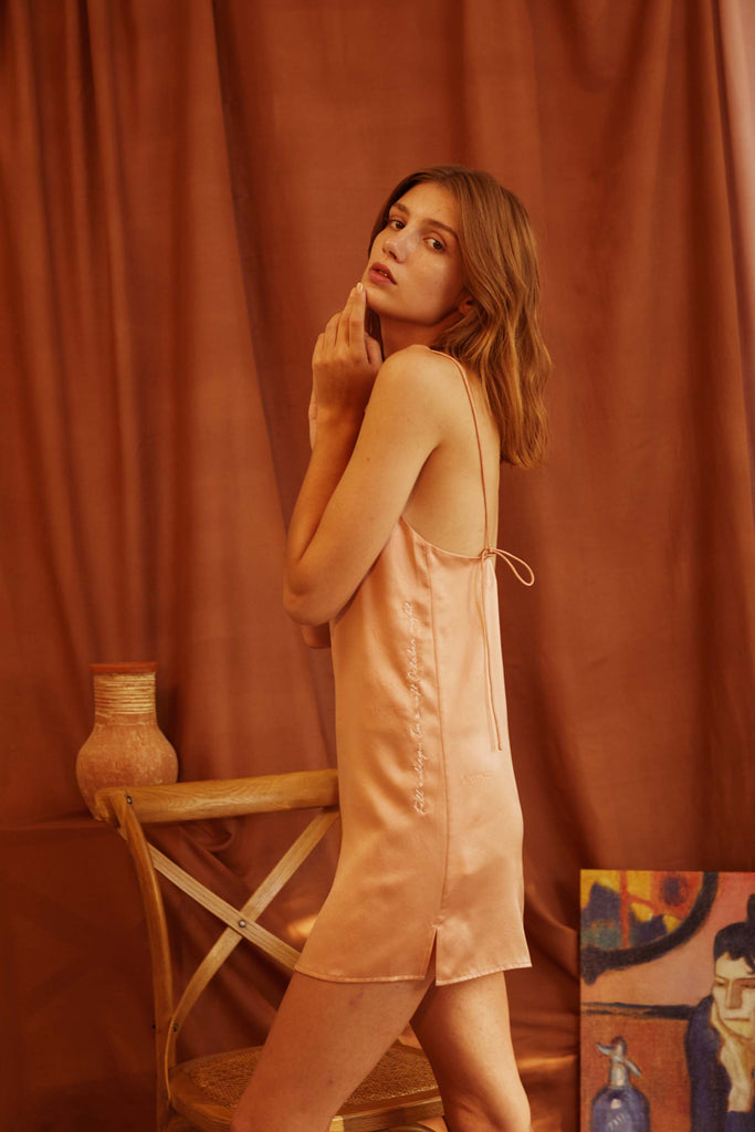 Love Song Embroidered Silk-Satin Slip