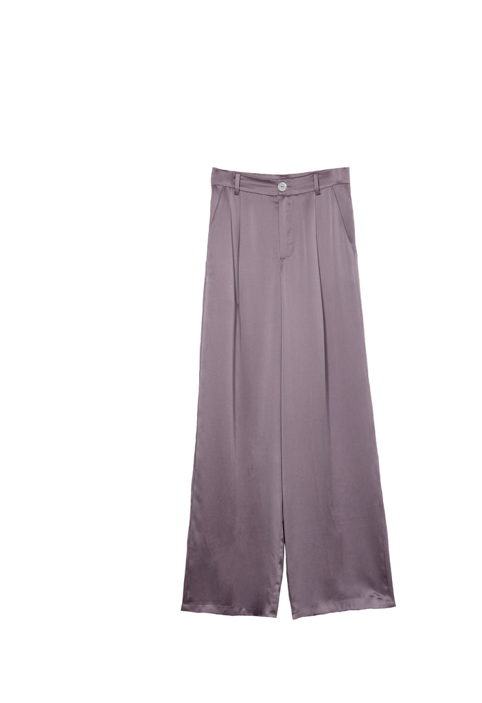 Casual Wide Leg Silk Pants - Mauve Sea Fog