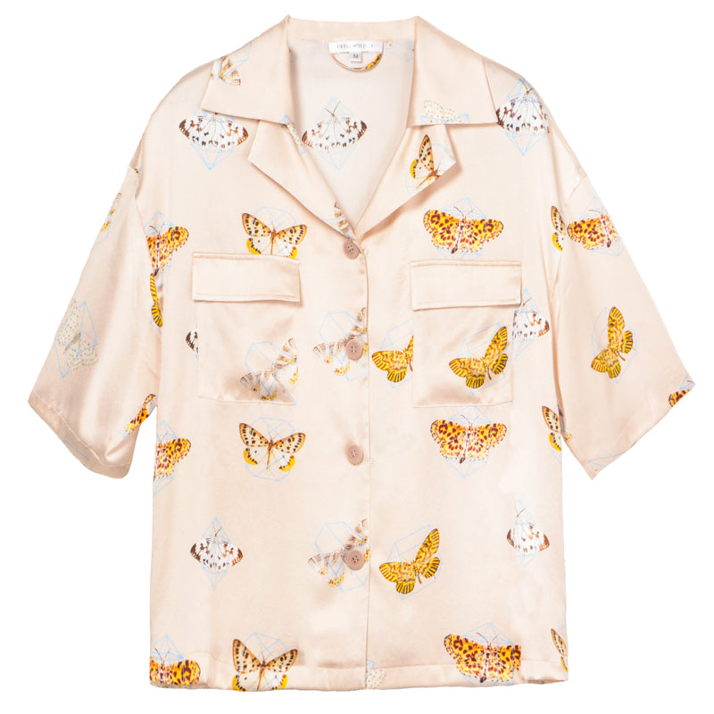 Into a Butterfly Short Sleeves Retro Silk Shirt