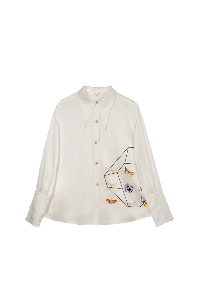 Into a Butterfly Long Sleeves Silk Shirt - White