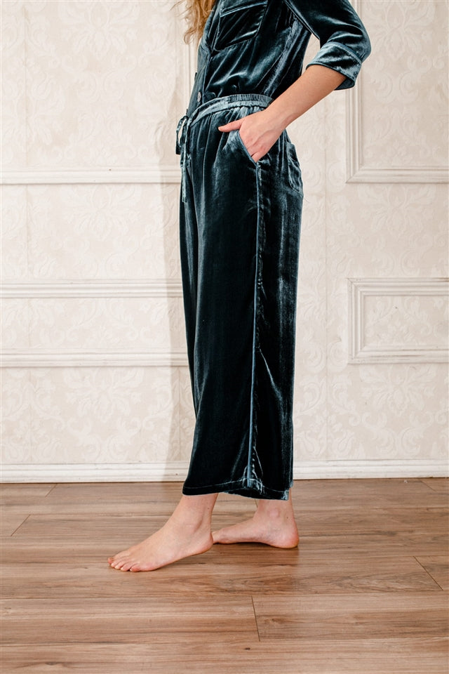 Silk-Velvet Wide Leg Pajama Bottom-Blue Coral