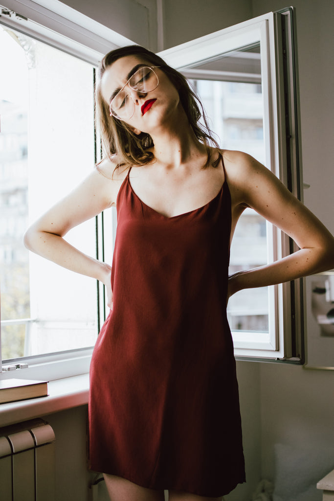 Part Time Siren Silk Crepe Slip Dress - Tawny Port