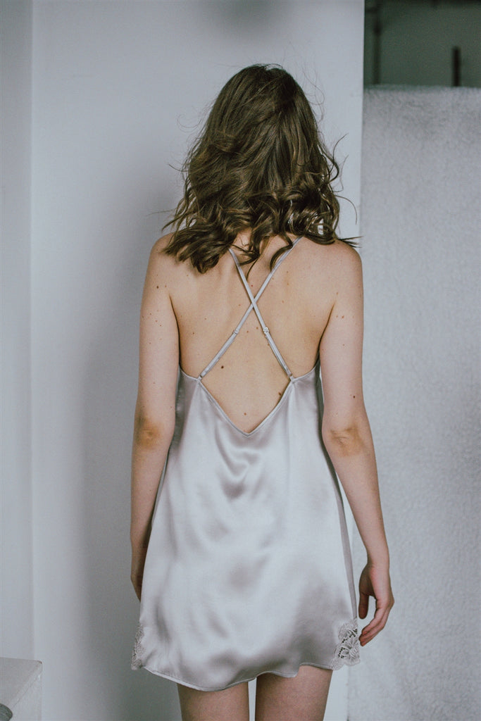 Lace-Trimmed Silk Satin Slip Dress-Shell
