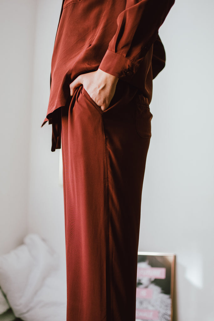Part Time Siren Silk Crepe Pajama Set - Tawny Port (Holiday Special Price!)