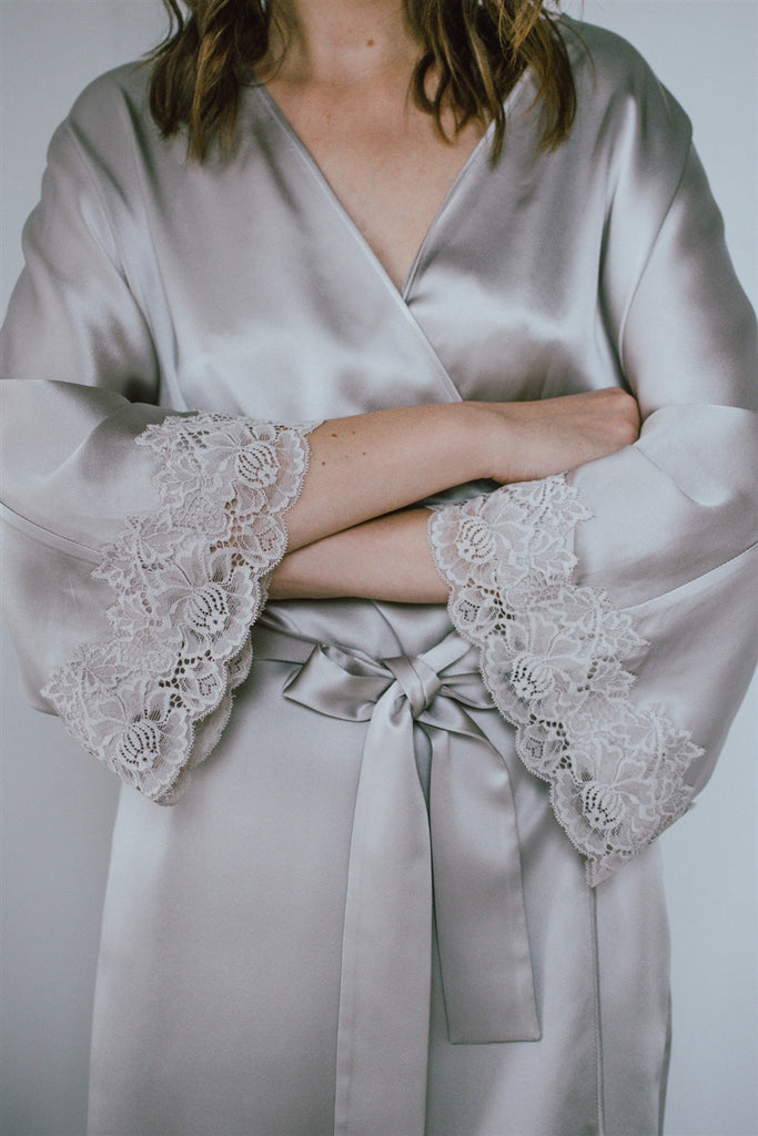 Lace-Trimmed Silk Satin Robe-Shell