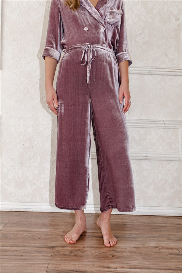 Silk-Velvet Wide Leg Pajama Bottom-Mauve Sea Fog