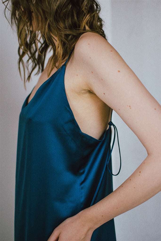 Silk Satin Slip Dress- Black Iris