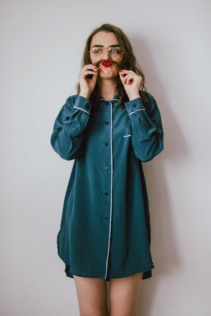 Ride the Wave Silk Crepe Nightshirt - Blue coral