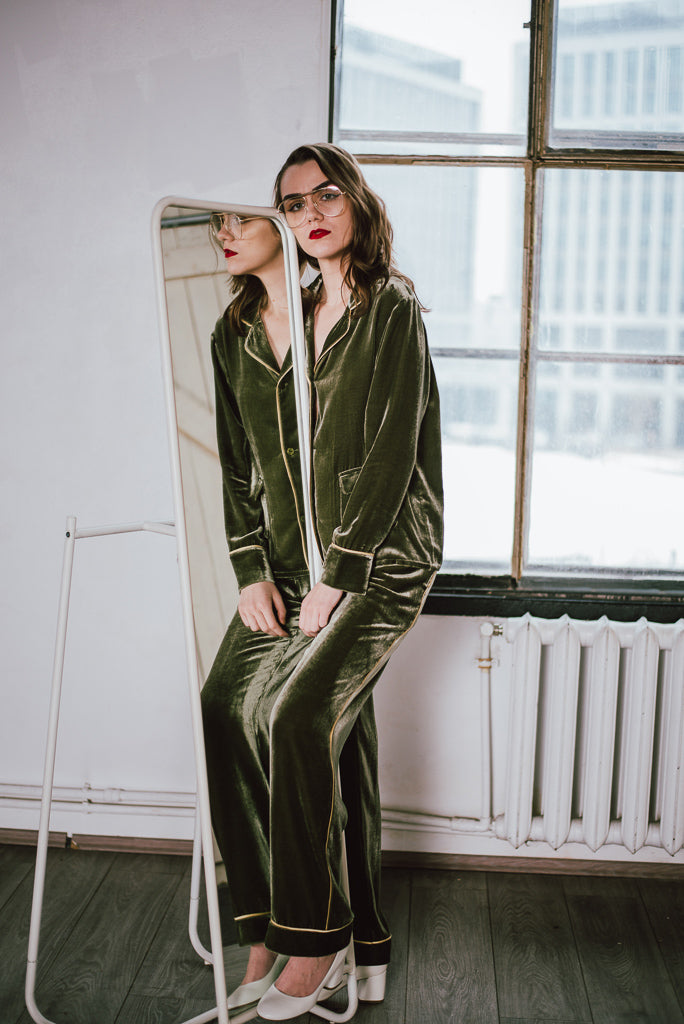 Silk-Velvet Pajama Set-Avocado