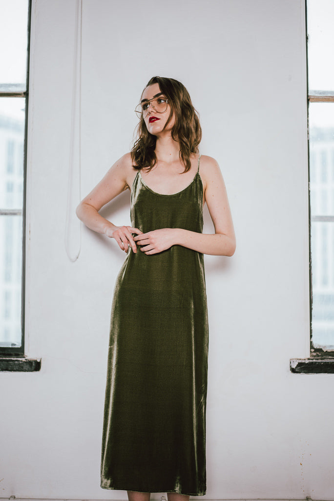 Silk-Velvet Long Slip Dress-Avocado