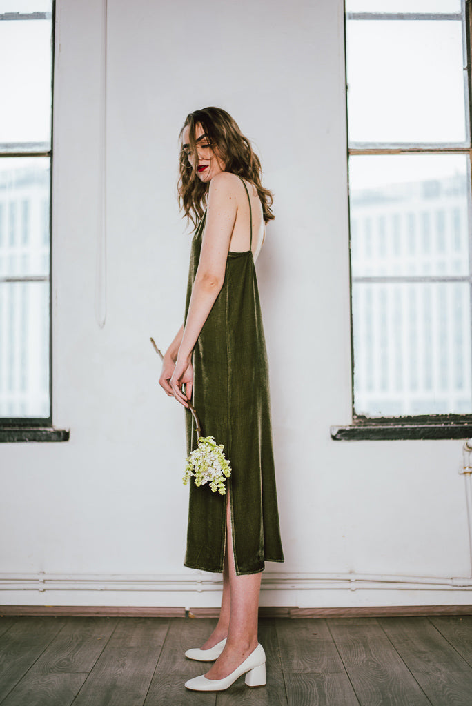 Silk-Velvet Long Slip Dress-Avacado