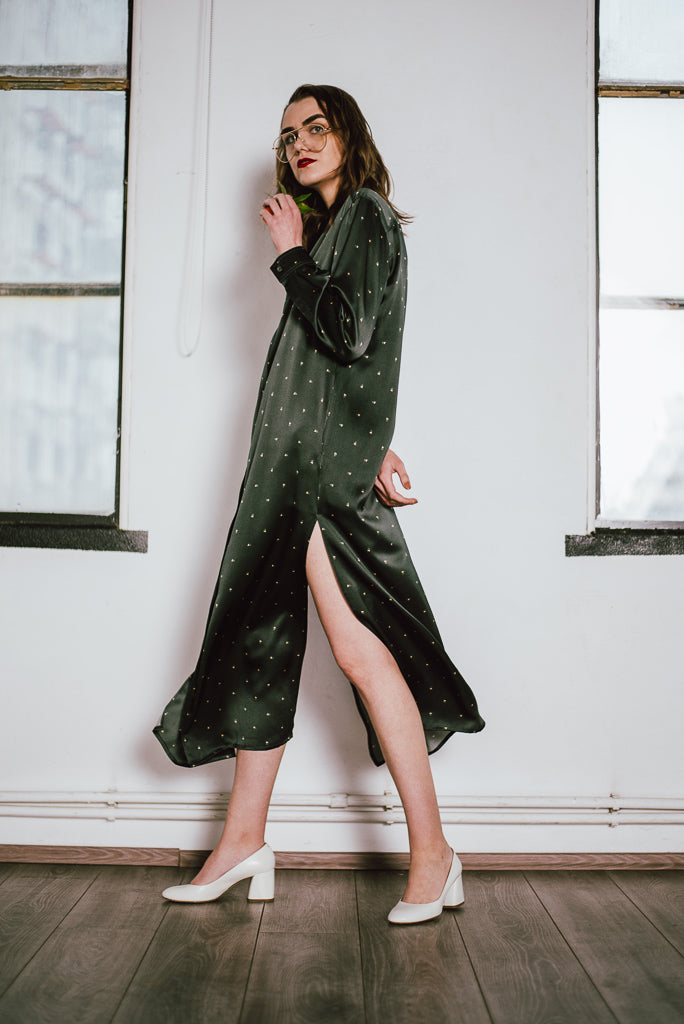 Hike and Seek Printed Silk-Satin Long Nightshirt