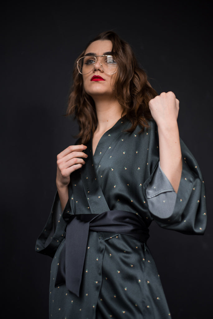 Hike and Seek Printed Silk Satin Kimono