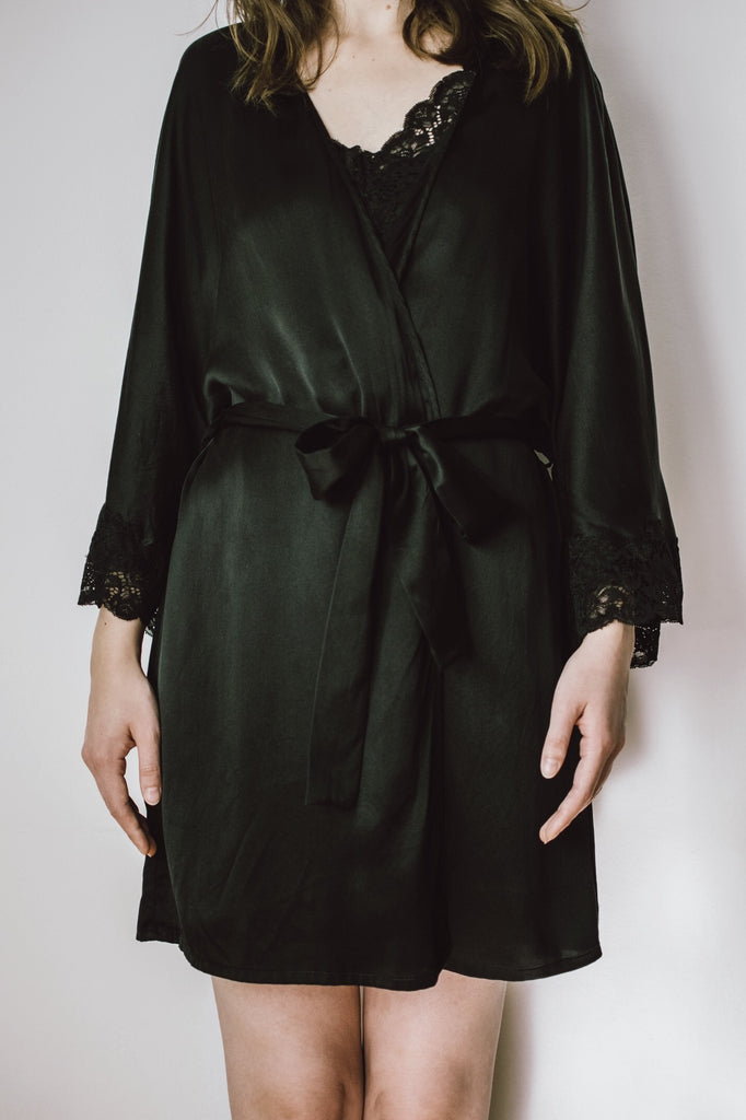 Lace-Trimmed Silk Satin Robe-Black