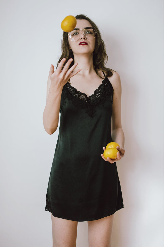 Lace-Trimmed Silk Satin Slip Dress-Black