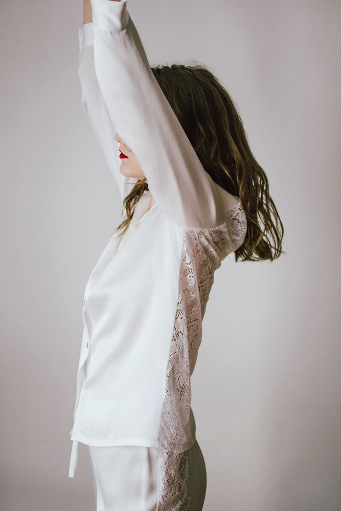 Lace-Trimmed Silk Satin Pajamas-White