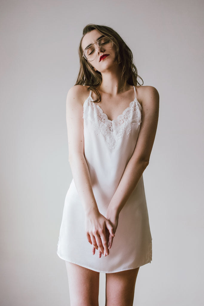 Lace-Trimmed Silk Satin Slip Dress-White