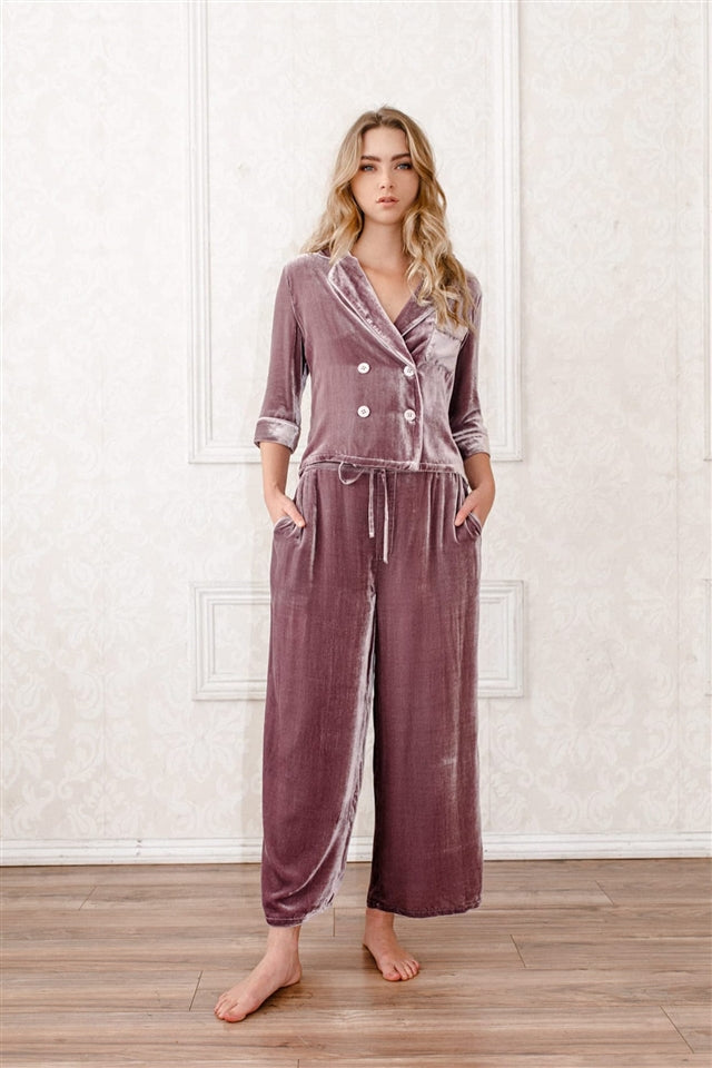 Silk-Velvet Double-Breasted Pajama Top-Mauve Sea Fog