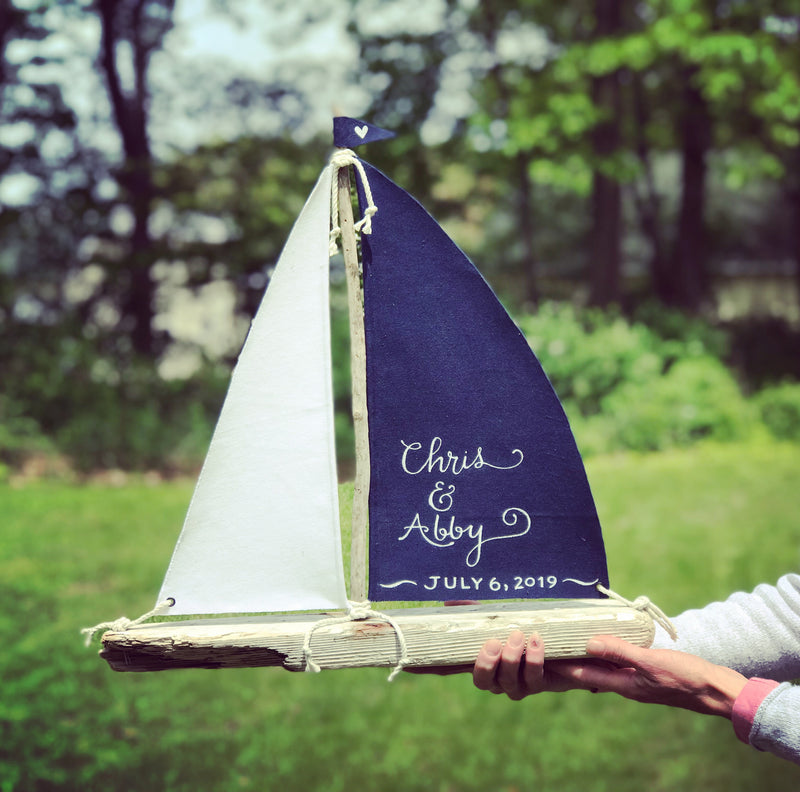 "Driftwood Sailboat - Extra Large 24"" Personalized Nautical Sailboat Centerpiece"