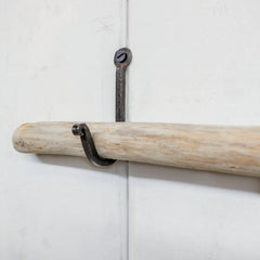 Driftwood Curtain Rod with Wrought Iron Hooks