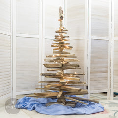 4 Foot Rustic Driftwood Christmas Tree with Starfish and Twinkle Lights