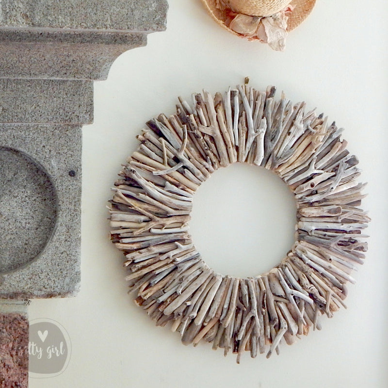 "24"" Sun Bleached Driftwood Wreath Wall Decor by Maine Artist Cherie Herne"