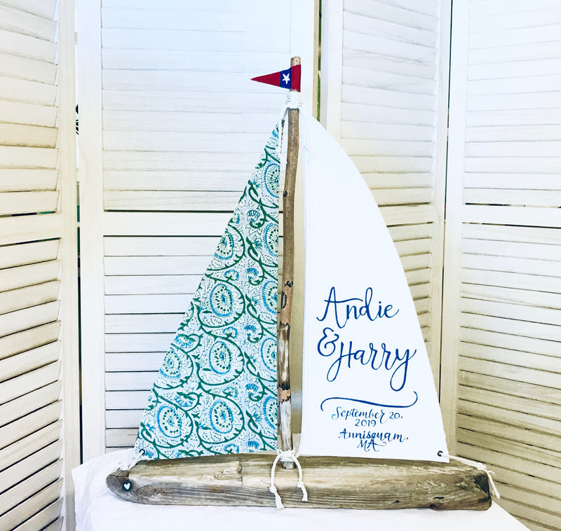 "Custom Fabric Driftwood Sailboat - 18"" or 24"" Personalized Nautical Sailboat Centerpiece"