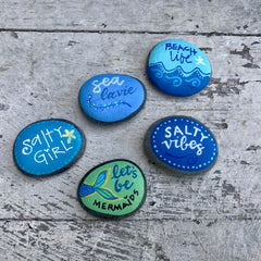 Painted Beach Stones with Whimsical Designs - custom event favors