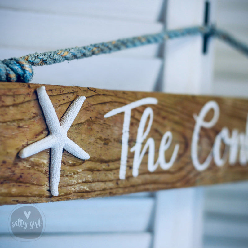 Custom Driftwood Sign with Rope Hanger and Starfish