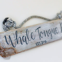 Personalized Driftwood Established Sign - with Fishing Rope Hanger