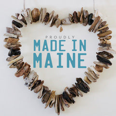 Driftwood Wreath with Indigo Blue Maine Mussel Shell Accents by Maine Artist Cherie Herne - Sizes 12