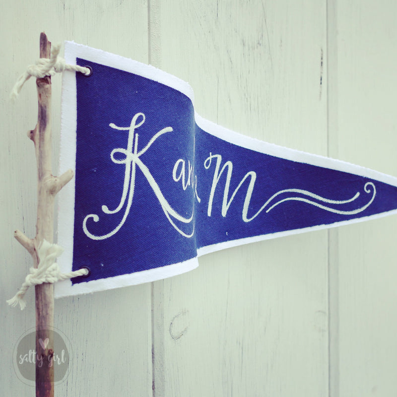 Nautical Centerpiece Pennant Flags Personalized with Wedding Couple's Name