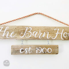 Driftwood Signs with Rope Hanger - Double Hanging Signs