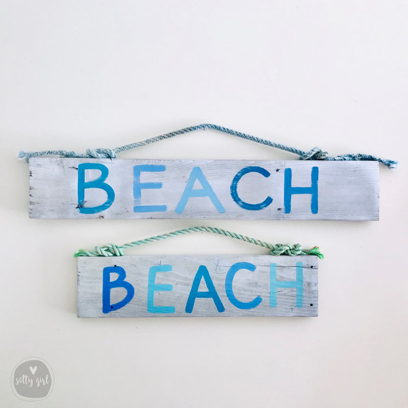 Driftwood BEACH Sign with Fishing Rope Hanger