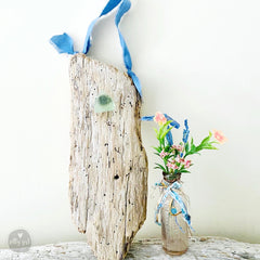 Driftwood Hanging Wall Vase with Antique Bottle and Sea Glass or Beach Stone Knob