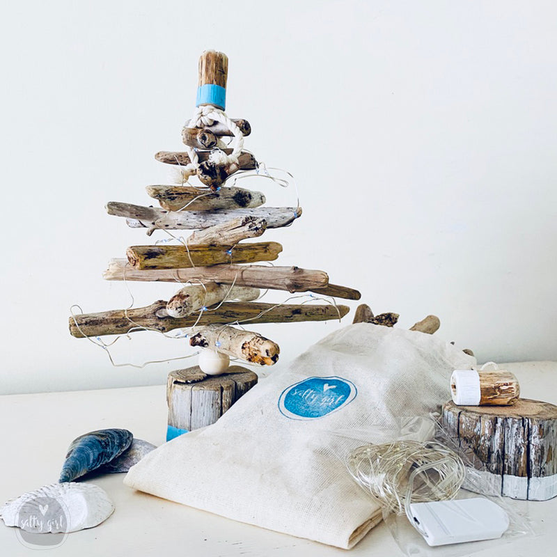 "Mini 12"" Driftwood Christmas Tree Kit with Twinkle Lights and Storage Tote"