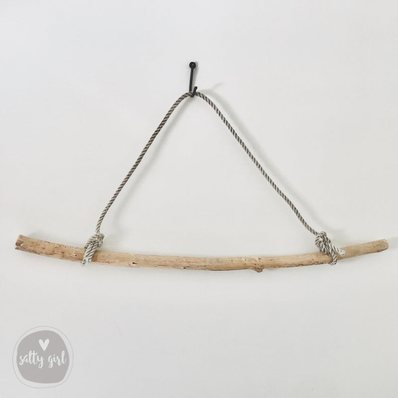 "Driftwood Branch Clothes Rack | 36-72"" Driftwood Rod with Fishing Rope Hanger"