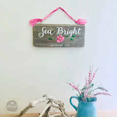 Personalized Driftwood Cottage Sign with Ribbon Hanger - Realtor Gift