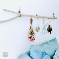 Curvy Driftwood Branch with Rope Hangers - Coastal Wall Decor