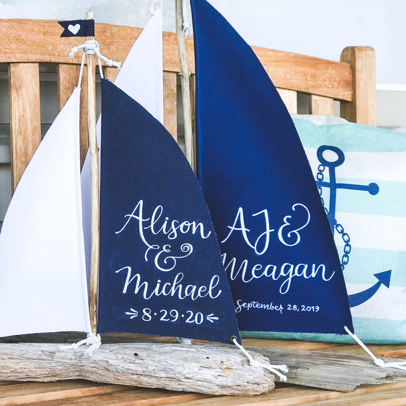 "Driftwood Sailboat Centerpiece - Large 18"" Personalized Nautical Sailboat"