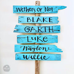 Driftwood Signs on Post - Stacked Driftwood Signs for Weddings & Events