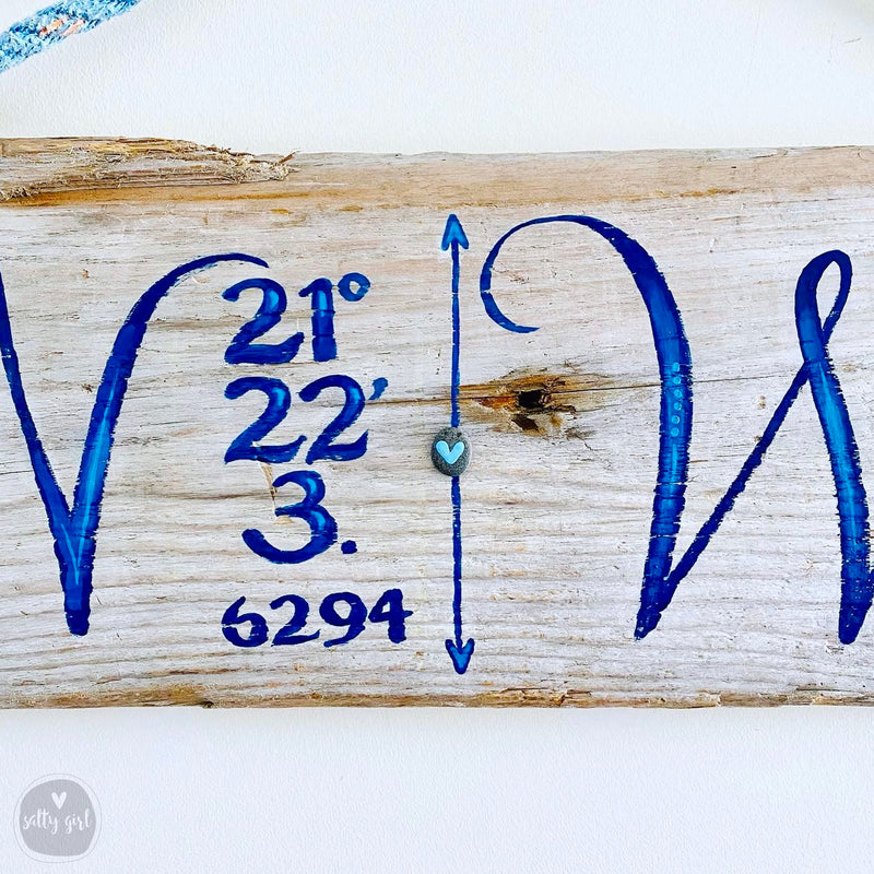 Custom Coordinates Driftwood Sign with Rope Hanger - Longitude Longitude
