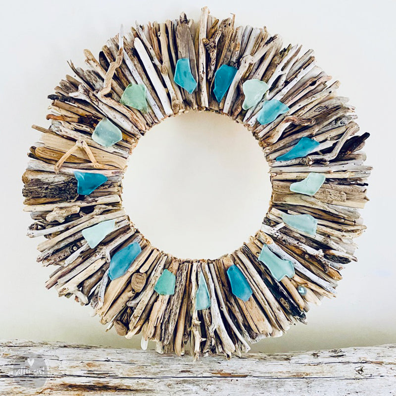 "Driftwood Wreath with Shades of Aqua & Seafoam Sea Glass - Sizes 12"" - 16"" - 20"""