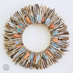 Driftwood Wreath with Maine Beach Brick & Aqua Sea Glass Accents - Sizes 12
