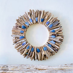 Driftwood Wreath with Indigo Blue Maine Mussel Shell Accents - Sizes 12