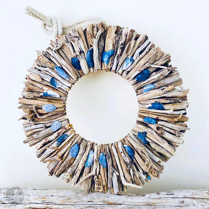 "Driftwood Wreath with Indigo Blue Maine Mussel Shell Accents - Sizes 12"" - 16"" - 20"""