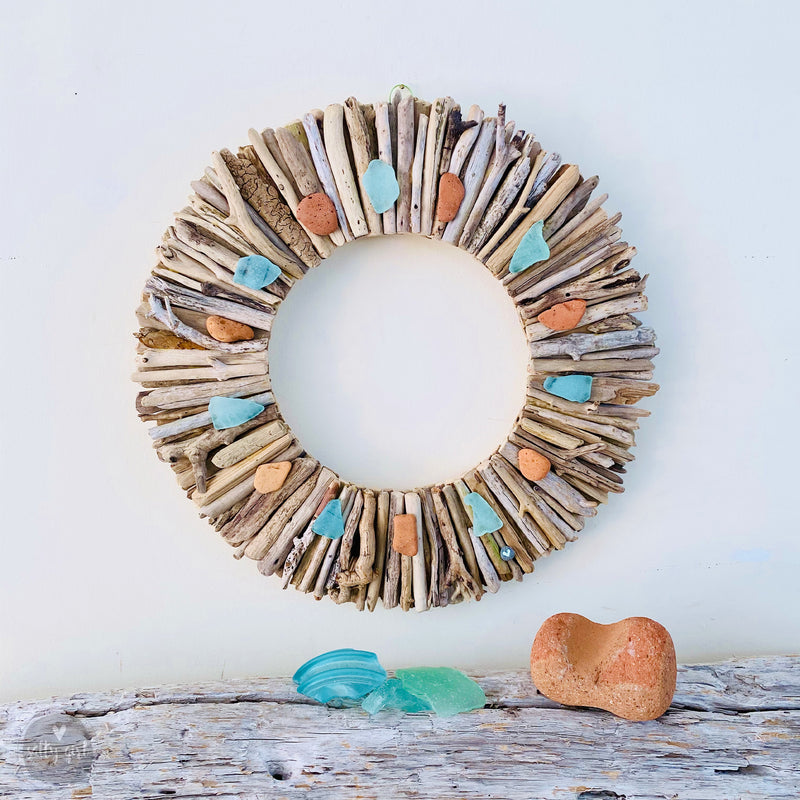 "Driftwood Wreath with Maine Beach Brick & Aqua Sea Glass Accents - Sizes 12"" - 16"" - 20"""
