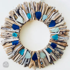 Driftwood wreath with cobalt and aqua sea glass